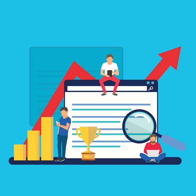 Seo growth and ranking, business success Premium Vector