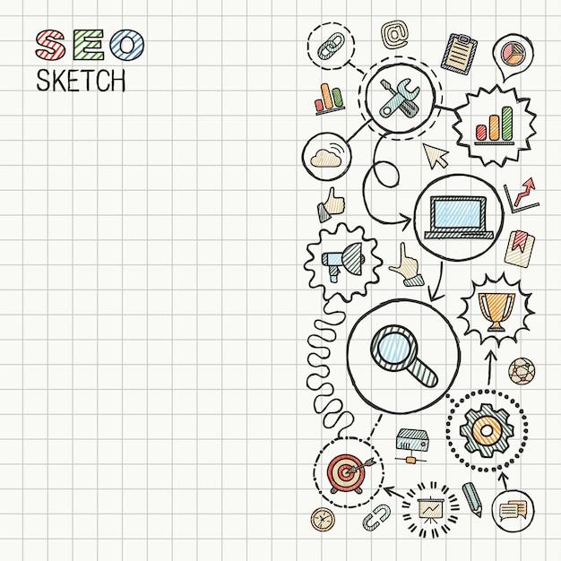 Seoの手は、紙に設定された統合アイコンを描画します。カラフルなスケッチインフォグラフィックイラスト。接続された落書き絵文字、マーケティング、ネットワーク、分析、技術、最適化、インタラクティブなコンセプト Premiumベクター