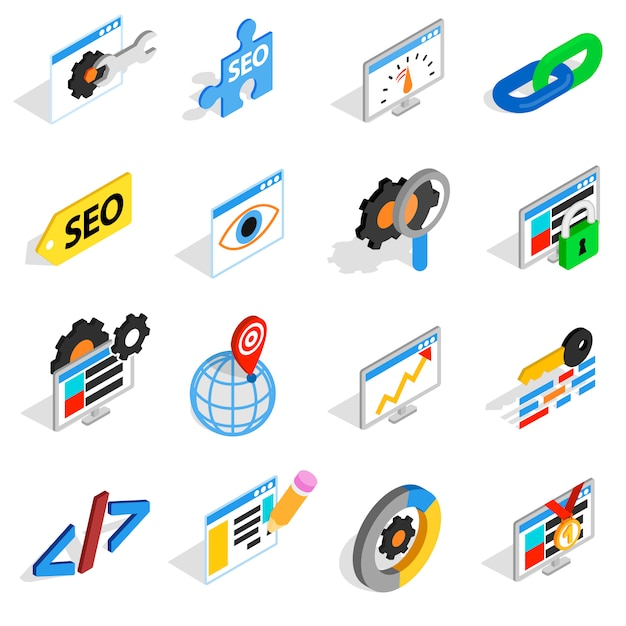 Seo icons set in isometric 3d style. web set collection isolated vector illustration Premium Vector