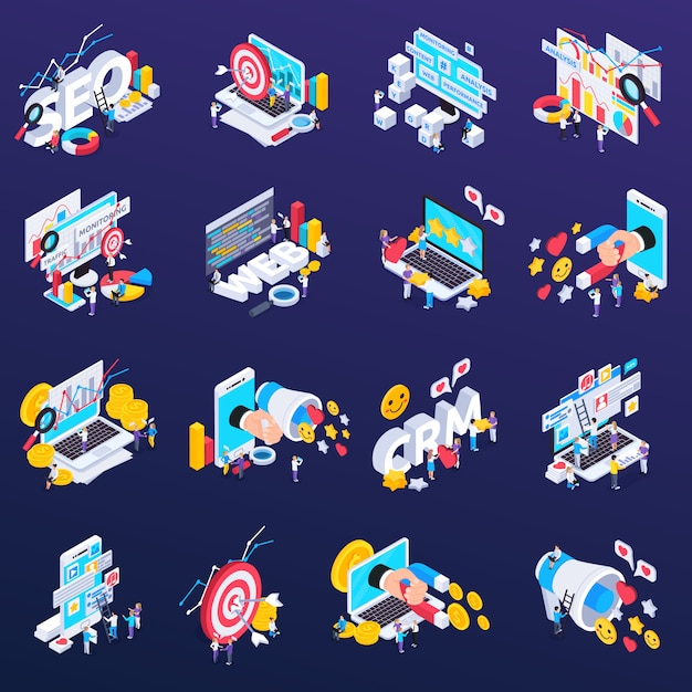 Seo icons set with content and analysis symbols isometric isolated Free Vector