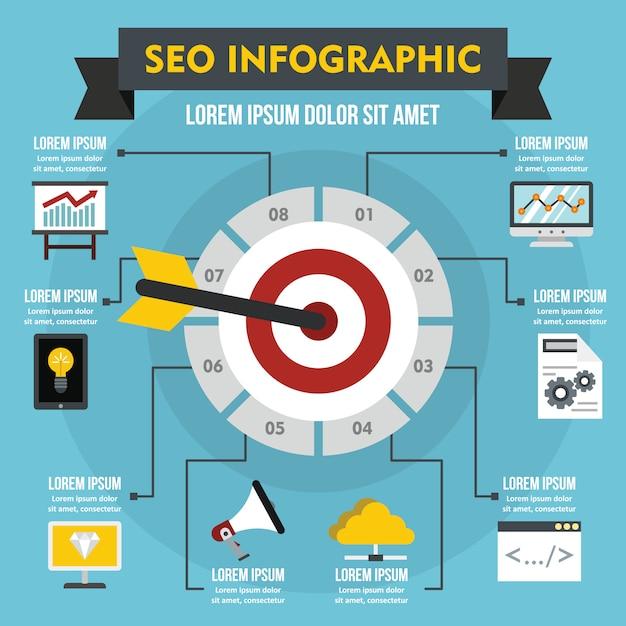 Seo infographic concept, flat style Premium Vector