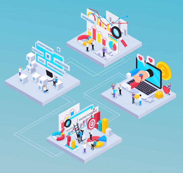 Seo isometric composition with content and analysis symbols Free Vector