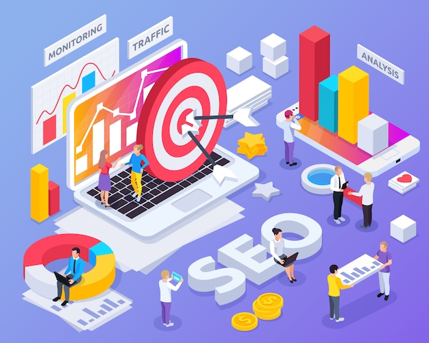 Seo isometric concept with monitoring and traffic symbols isolated Free Vector