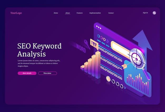 Seo keyword analysis landing page template Free Vector