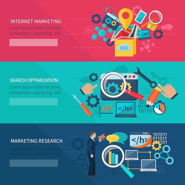 Banner di marketing seo impostato con elementi di ottimizzazione della ricerca internet Vettore gratuito