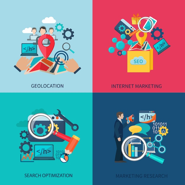 Seo marketing design concept set with geolocation search optimization flat icons isolated vector illustration Premium Vector