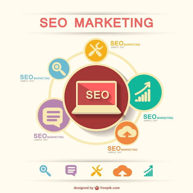 Seo marketing infographic Free Vector
