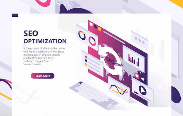 Seo optimization isometric background Free Vector