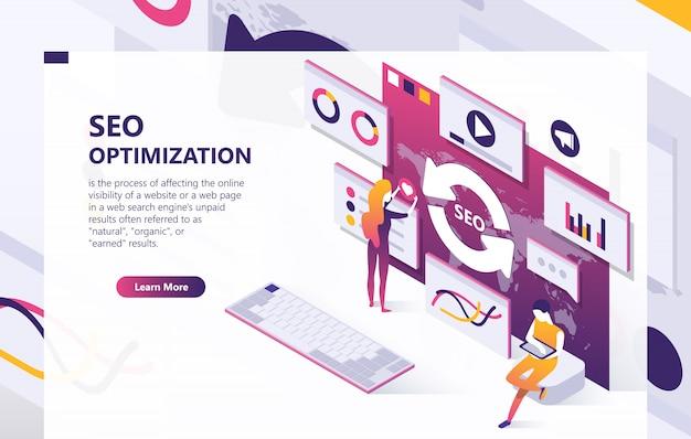 Seo optimization isometric concept banner Free Vector