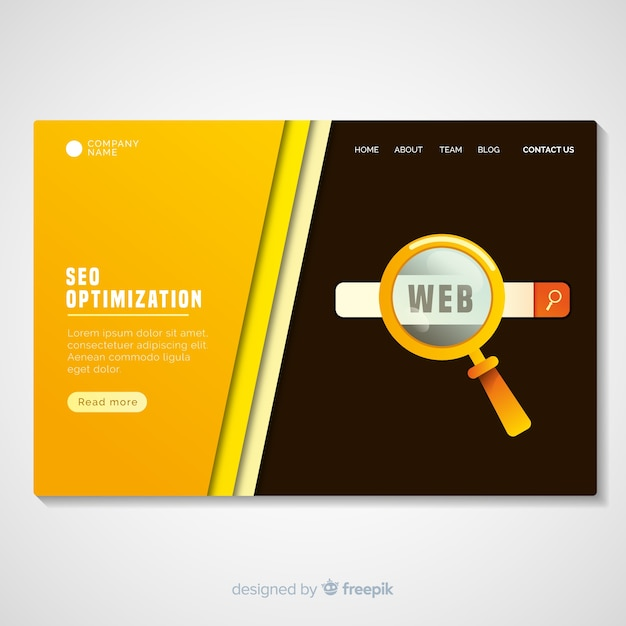 Seo optimization landing page template Free Vector