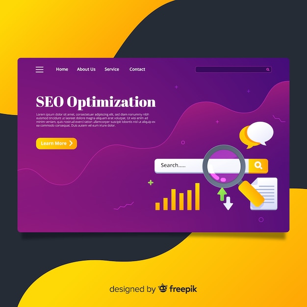 Seo optimization landing page Free Vector
