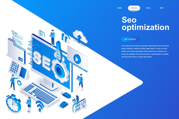 Seo optimization modern flat design isometric concept. Premium Vector