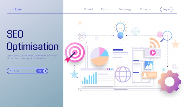 Seo optimization technology, search engine analytics, social and data analytics Premium Vector