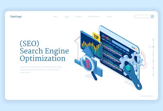 Seo 검색 엔진 최적화 아이소 메트릭 방문 페이지. 인터넷 마케팅 및 디지털 비즈니스 콘텐츠를위한 기술. 기어 및 분석 차트가있는 컴퓨터 장치 데스크톱, 3d 웹 배너 무료 벡터