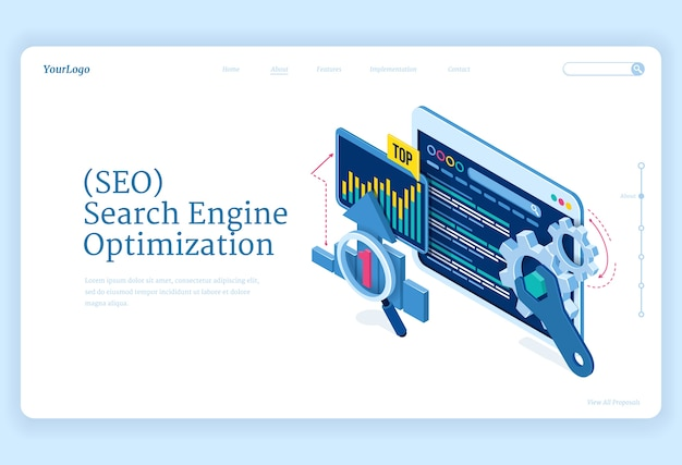 Seo search engine optimization isometric landing page. technology for internet marketing and digital business content. computer devices desktop with gears and analysis charts, 3d web banner Free Vector