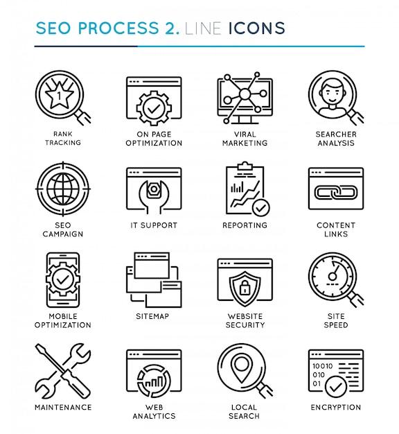 Seo search engine optimization process thin line icon set. Premium Vector