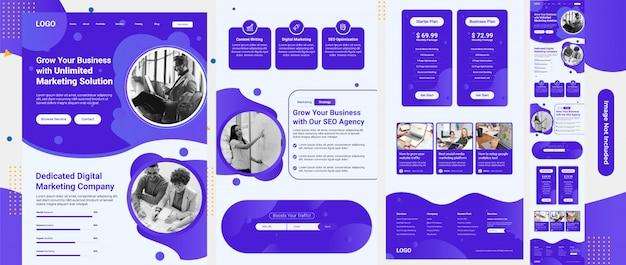 Seoサービスおよびマーケティングwebテンプレート Premiumベクター