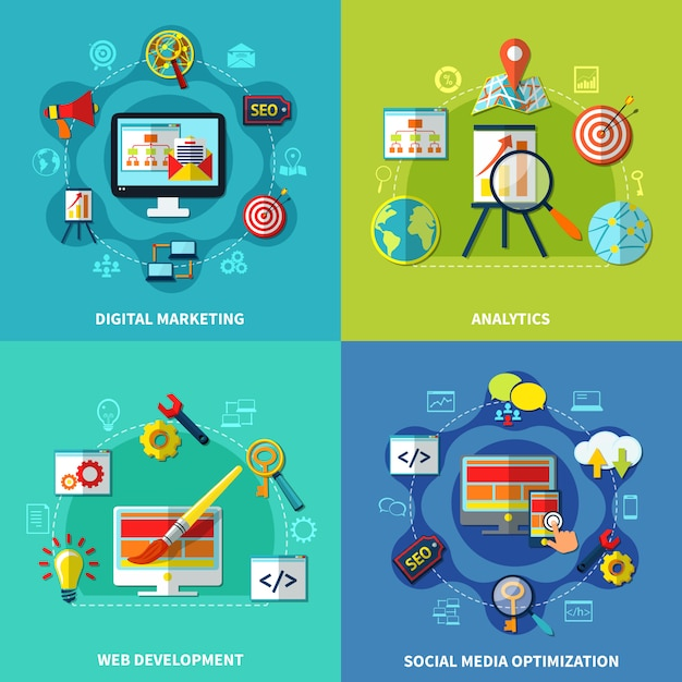 Seo square compositions set Free Vector