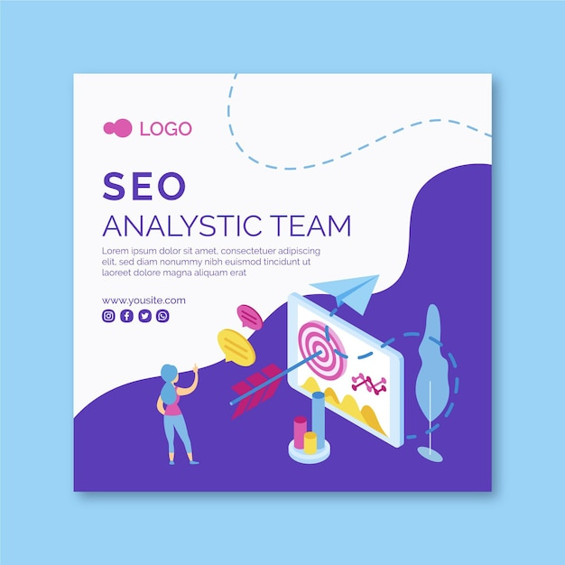 Seo squared flyer template Free Vector