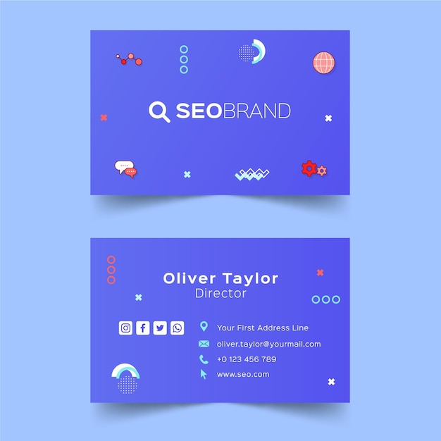 Seo strategy business card Premium Vector