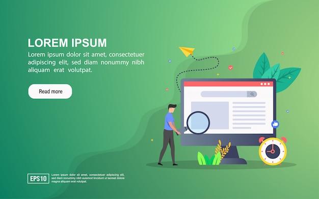 Seoのイラストの概念。リンク先ページのwebテンプレートまたはオンライン広告 Premiumベクター