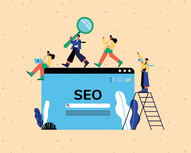 Seo website and people with ladder and icons design, digital marketing ecommerce and online theme illustration Premium Vector