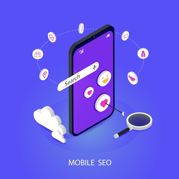 Seoや検索エンジン最適化等尺性モバイル。ブランディング、およびデジタルメディアマーケティングフラットベクトルの概念 Premiumベクター