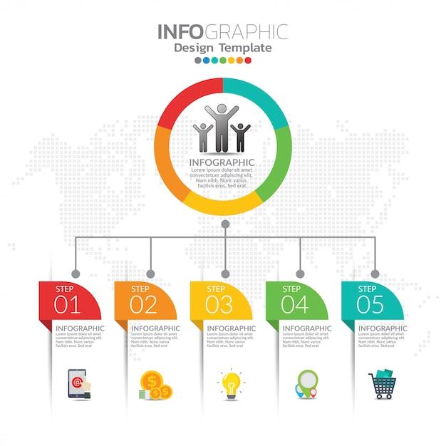 ビジネスレイアウトテンプレートとseoインフォグラフィックのインフォグラフィックの概念図。 Premiumベクター