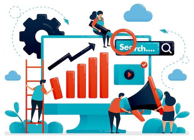 Оптимизируйте seo с рекламой и концепцией планирования стратегии иллюстрации Premium векторы