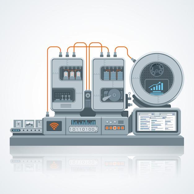 ウェブサイトのseoベクトルマシン図、フラットスタイルデザインの工学と最適化プロセス Premiumベクター
