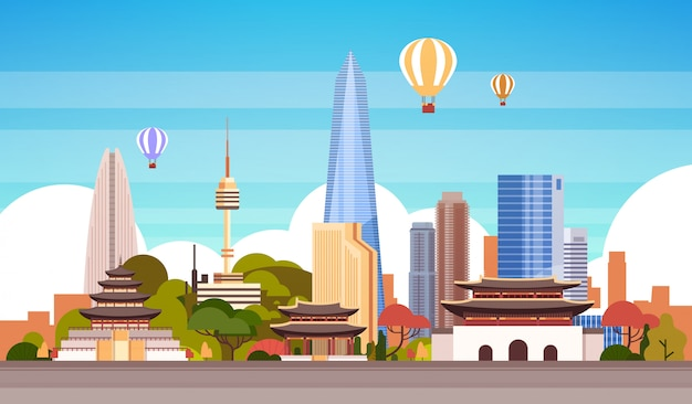 Seoul city background skyline view with air balloon flying Premium Vector