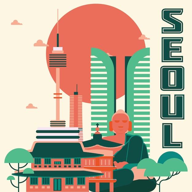 Seoul landmarks illustration Free Vector