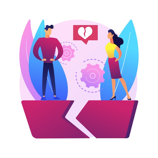 Separated person abstract concept  illustration. legal separation, divided couple, apart from spouse, break up, divorce agreement, child custody, broken heart, love people . Free Vector