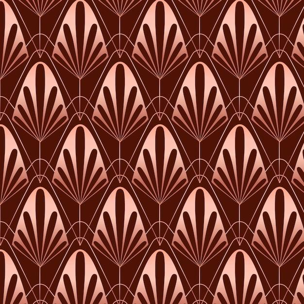 Sepia rose gold art deco pattern Free Vector