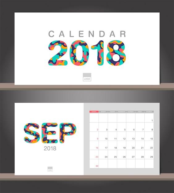 September 2018 calendar  desk calendar modern design
