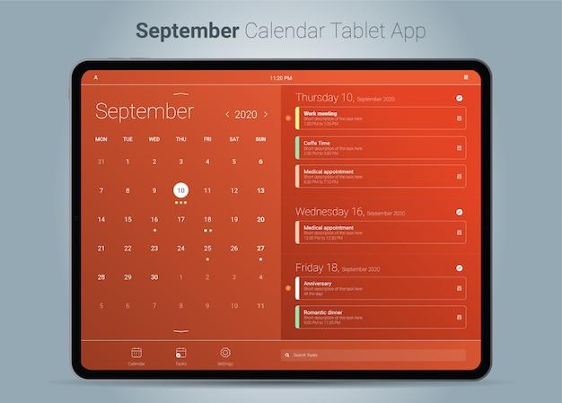 Сентябрь календарь интерфейс планшетного приложения Premium векторы