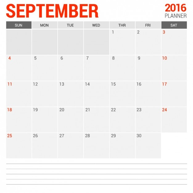 September Monthly Calendar 2016