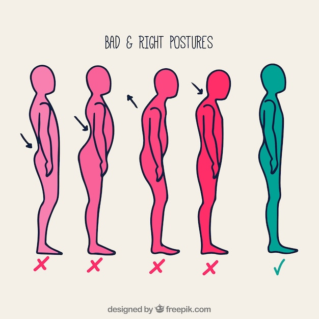 Series of correct and incorrect hand-drawn postures Free Vector