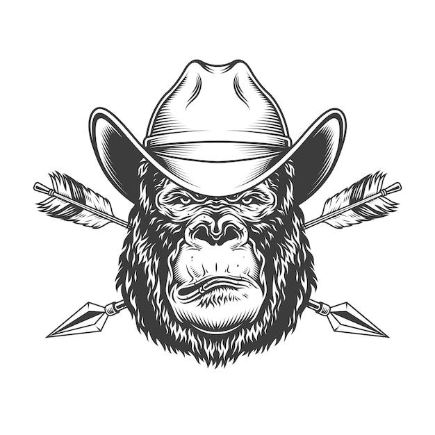 Serious gorilla head in cowboy hat Free Vector