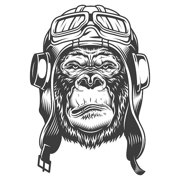 Серьезная горилла в монохромном стиле Бесплатные векторы