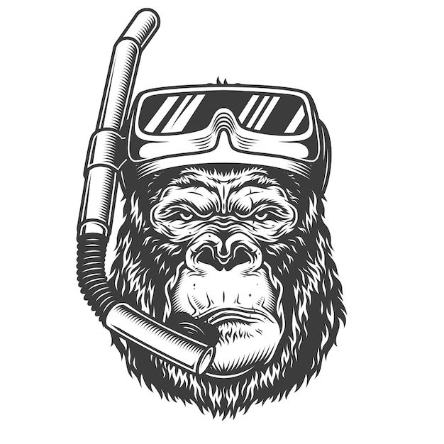 Serious gorilla in monochrome style Free Vector