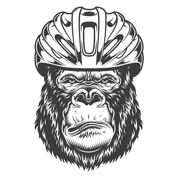 Serious gorilla in monochrome style Free Vector