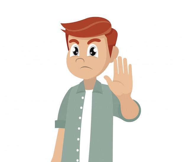 Serious man shows stop gesture. Premium Vector