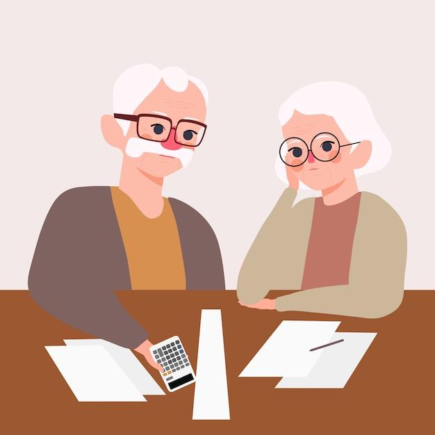 Серьезно подчеркнул пожилая пара. дед с бабушкой беспокоятся о иллюстрации управления активами. проблема денег и концепция пенсионного плана Premium векторы