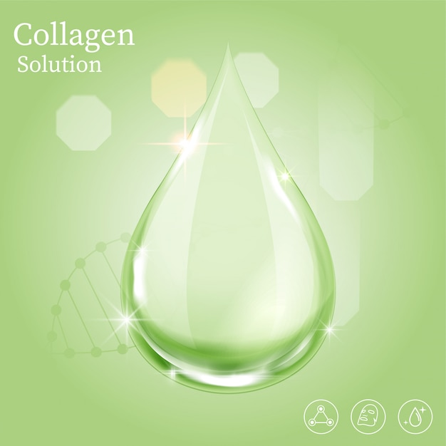 Serum green drop for beauty and cosmetic concept. Premium Vector