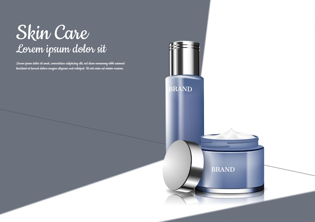 Serum and opened cream with door open light Premium Vector