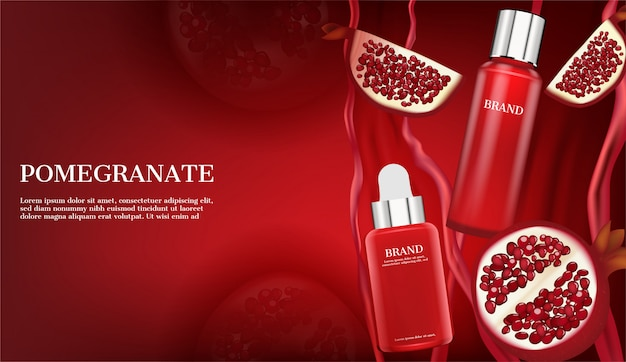 Serum with blooming roses on red Premium Vector