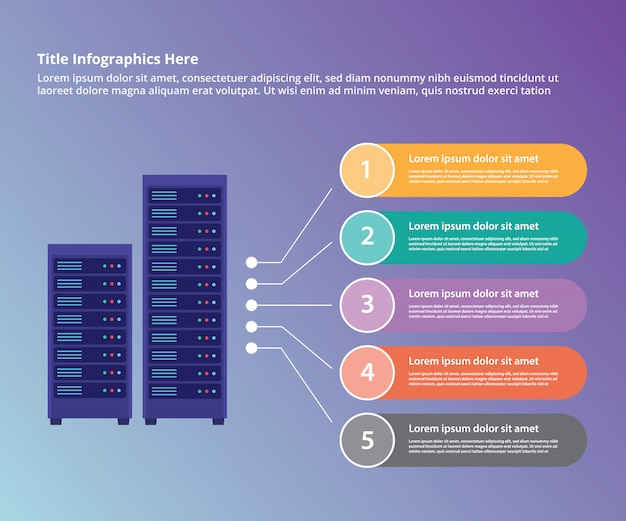 Server data center collection infographic template Premium Vector