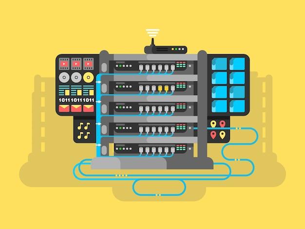 Server design flat Premium Vector