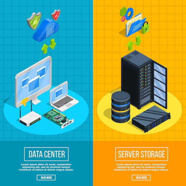 Server hardware vertical banners Free Vector